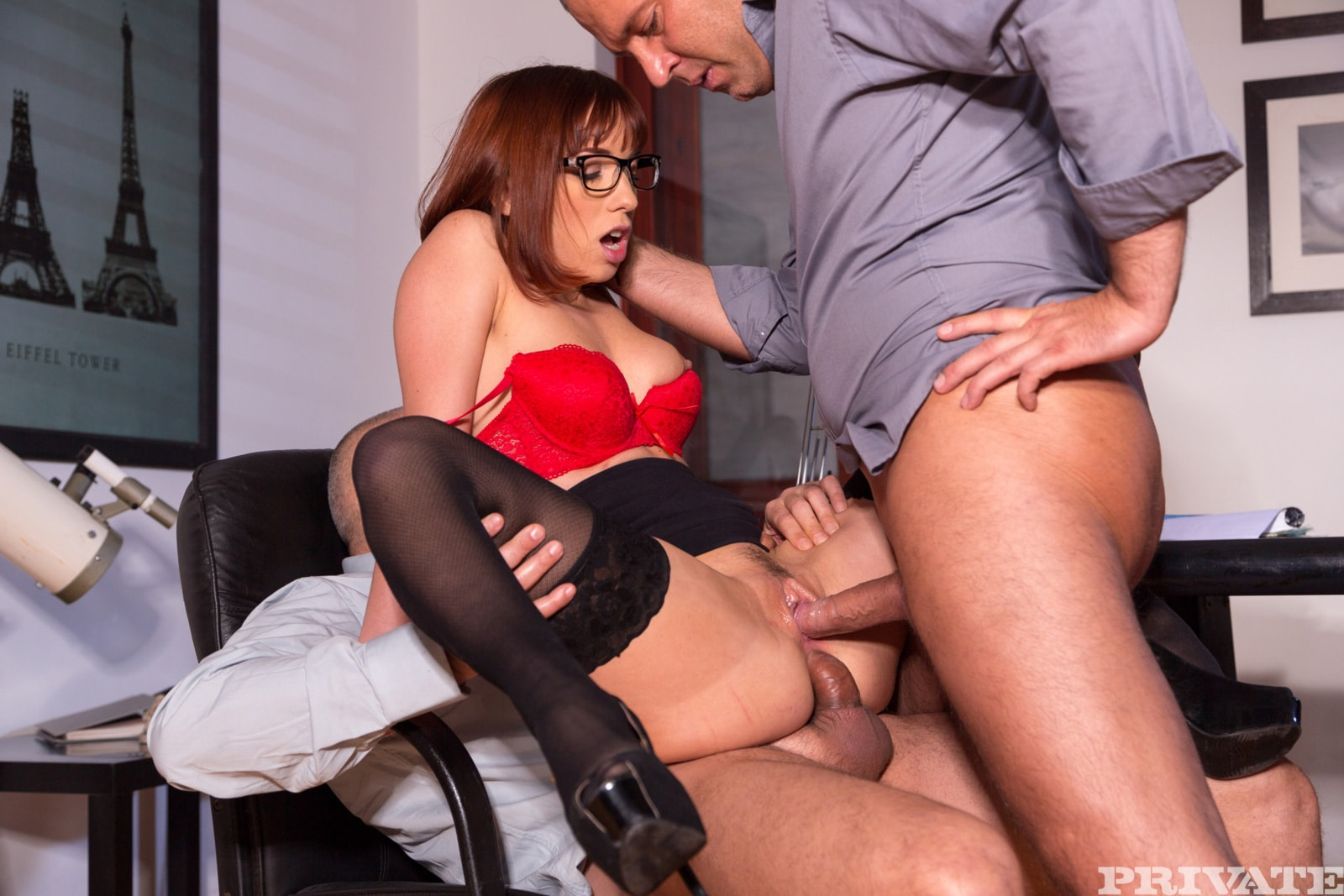 Naughty girl having group sex in the office